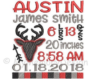 Baby shower gift - Embroidery Design - Birth announcement embroidery - Baby embroidery - Buffalo plaid design - INSTANT DOWNLOAD - 3 sizes