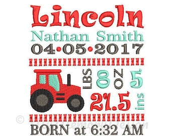 Baby Boy Birth Announcement Embroidery Design - Baby Subway Art Machine Embroidery Digital File - Embroidery pattern - Newborn design