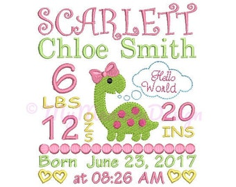 Girl birth announcement embroidery design - Birth template machine embroidery - Baby design - INSTANT DOWNLOAD 4x4 5x7 6x10 sizes