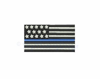 Thin blue line embroidery design - American flag embroidery - Police design - Machine embroidery INSTANT DOWNLOAD - 4x4 5x7 6x10 sizes