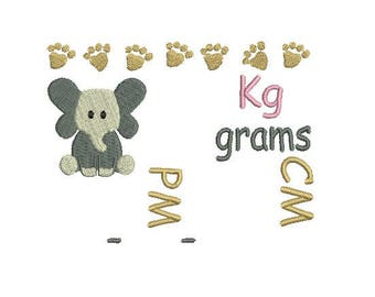 Baby Elephant Birth announcement template with kg grams cm and AM/PM - instant digital download - 4x4 5x7 hoop sizes