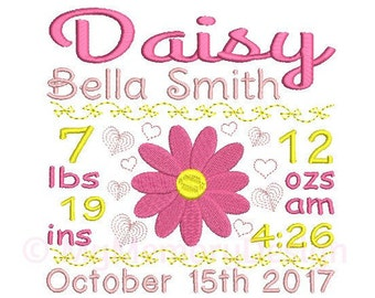 Girl Birth Announcement Embroidery Design - Custom Birth Stats Machine Embroidery File - EMAIL DELIVERY 0-48 hour - NOT instant download