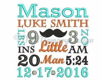 Baby Boy Embroidery - TEMPLATE Birth Announcement Embroidery - Newborn embroidery - Machine embroidery INSTANT DOWNLOAD 4x4 5x7 6x10 size