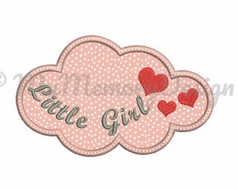 Baby girl embroidery design - Cloud applique design - Fill stitch heart embroidery - Machine embroidery file - Instant download 3 size