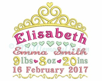 Personalized Custom Baby Girl Birth Announcement Embroidery Design - Machine embroidery digital file - Customised birth announcement