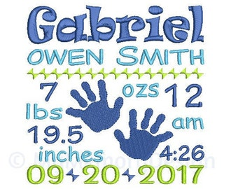 Birth announcement embroidery design, Embroidery design, Machine embridery, Baby announcement , Baby embroidery, Baby boy, Birth template
