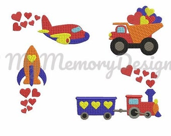 Vehicles Mini Embroidery Machine Design - Boy Embroidery Design - Baby embroidery - Small filled stitch embroidery design - INSTANT DOWNLOAD