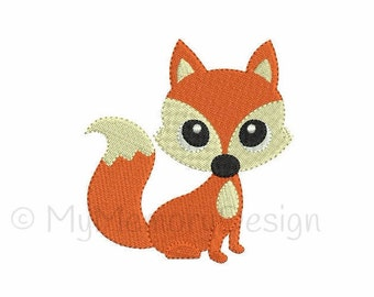 Cute Fox Machine Embroidery Design - Woodland animal fill stitch embroidery - INSTANT DOWNLOAD - pes hus jef vip vp3 xxx dst exp - 6 sizes