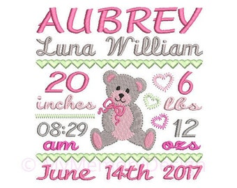 Custom Birth Announcement Embroidery Design - Baby Girl Subway Art Machine Embroidery File - EMAIL DELIVERY 0-48 hour - NOT instant downlaod