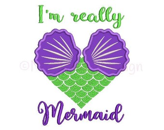 Mermaid embroidery design - Mermaid design - Mermaid applique design - Machine embroidery design - INSTANT DOWNLOAD - 3 sizes - 4x4 5x7 6x10