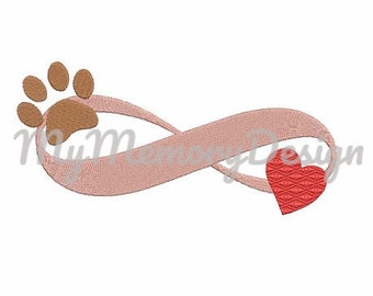 Heart embroidery design - Paw embroidery - Infinity embroidery design - Animal - Dog - Love - Forever - Machine Embroidery
