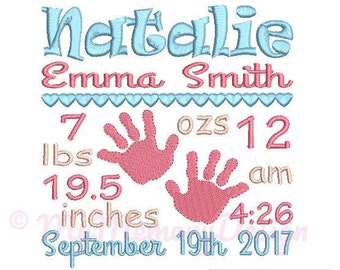 Baby Hand Birth Announcement Embroidery Design - Custom Birth Stats Machine Embroidery File - EMAIL DELIVERY 0-48 hour  NOT instant download