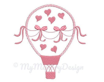 Hot air balloon embroidery design - Girl Embroidery Pattern - Machine embroidery digital dowload file - INSTANT DOWNLOAD 3 SIZES