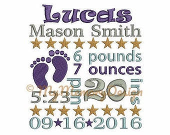 Boy Custom Baby Announcement Embroidery Design Digital File - Personalized design - EMAIL DELIVERY 0-48 hour - NOT instant downlaod