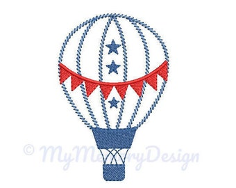 Hot air balloon embroidery design - Boy Embroidery Pattern - Machine embroidery digital dowload file - INSTANT DOWNLOAD 3 SIZES