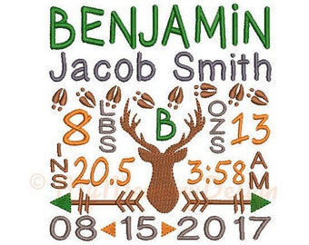 Deer Birth announcement embroidery design - Birth template machine embroidery baby design - INSTANT DOWNLOAD 4x4 5x7 6x10 sizes