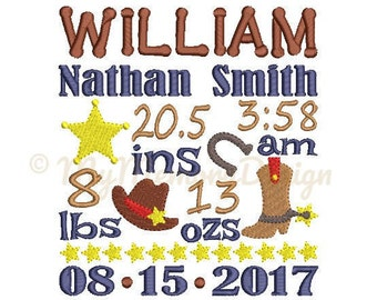 Cowboy Birth announcement embroidery design - Birth template machine embroidery baby design - INSTANT DOWNLOAD 4x4 5x7 6x10 sizes