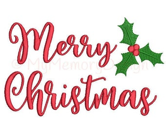 Merry Christmas Embroidery Design - Winter design - Machine embroidery file - INSTANT DOWNLOAD - 3 sizes - 4x4 5x7 6x10