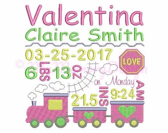 Personalised Train Baby Birth Announcement Embroidery Design - Subway Art Design - EMAIL DELIVERY 0-48 hour - NOT instant download