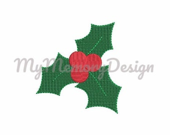 8 SIZES - Holly berry fill stitch mini embroidery design - Christmas mini design - Winter flower embroidery  - INSTANT DOWNLOAD