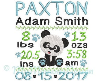 Panda Birth announcement embroidery design - Birth template machine embroidery baby design - INSTANT DOWNLOAD 4x4 5x7 6x10 sizes