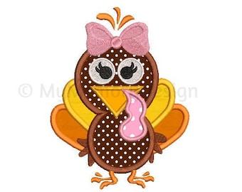 Cute Turkey  Embroidery Design - Turkey applique design - Thanksgiving design - Machine embroidery design - INSTANT DOWNLOAD 5x7 6x10 sizes