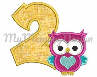 2nd birthday machine embroidery - Birthday embroidery - Birthday applique - Owl applique design - INSTANT DOWNLOAD - 4x4 5x7 6x10 size