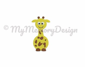 Giraffe embroidery design - Baby mini filled stitch embroidery design - Baby animal embroidery - INSTANT DOWNLOAD - 4 size
