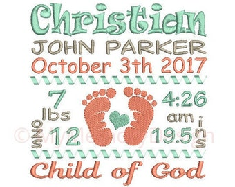 Baby Feet Birth Announcement Embroidery Design - Custom Birth Stats Machine Embroidery File - EMAIL DELIVERY 0-48 hour NOT instant download