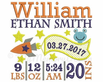 Baby Boy Birth Template Announcement Embroidery - Boy Birthday Embroidery - Machine embroidery - INSTANT DOWNLOAD - 4x4 5x7 6x10 size