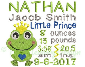 Little Prince birth announcement embroidery design - Birth template machine embroidery pattern - INSTANT DOWNLOAD 4x4 5x7 6x10 sizes