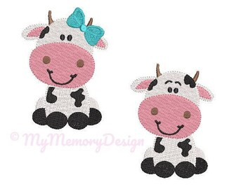 Cow  Embroidery Design - Animal Embroidery Pattern - Machine embroidery digital dowload file - INSTANT DOWNLOAD - 6 sizes