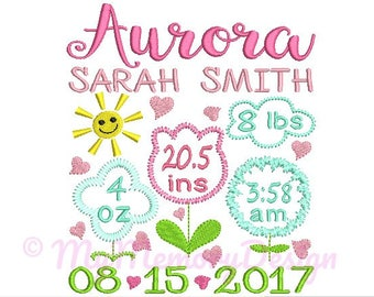 Flower birth announcement embroidery design - Birth template machine embroidery pattern Birth stats - INSTANT DOWNLOAD 4x4 5x7 6x10 sizes