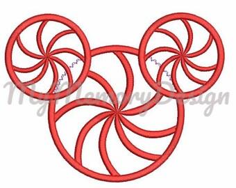 Peppermint Santa Mouse Head Christmas Embroidery Design - Digital Instant Download - pes hus jef vip vp3 dst exp xxx