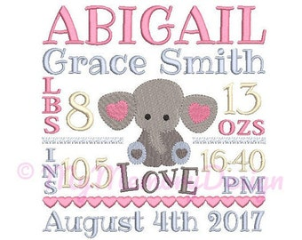 Elephant birth announcement embroidery design - Birth template machine embroidery pattern Birth stats - INSTANT DOWNLOAD 4x4 5x7 6x10 sizes
