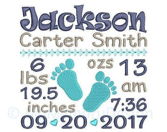 Baby Boy Announcement Embroidery Design - Custom Birth Stats Machine Embroidery File - EMAIL DELIVERY 0-48 hour NOT instant download