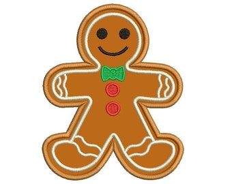 Gingerbread boy embroidery design - Gingerbread applique - Christmas embroidery - Machine embroidery digital file - INSTANT DOWNLOAD- 3 size