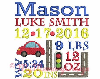 Custom Car Birth Announcement Machine Embroidery Design - EMAIL DELIVERY 0-48 hour - NOT instant download