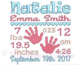 Machine embroidery, Embroidery design , Birth announcement embroidery design, Baby announcement , Baby embroidery , Embroidery for baby