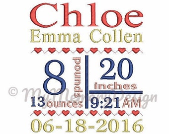 Heart Birth Announcement  Embroidery Design - Custom embroidery - Baby announcement - EMAIL DELIVERY 0-48 hour - NOT instant download