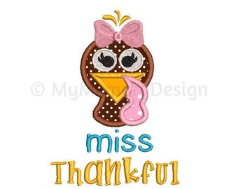 Miss Thankful Embroidery Design - Thanksgiving applique design - Girl  design - Machine embroidery design - INSTANT DOWNLOAD 5x7 6x10 sizes