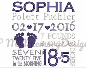 Birth announcement embroidery template design - Baby feet embroidery - Baby embroidery - Boy - Girl - Patterns - New born baby  - 3 size