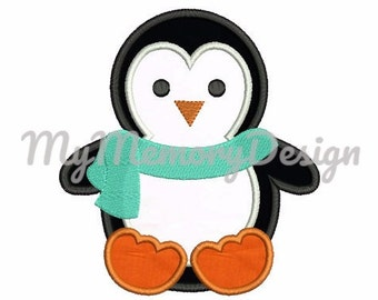 Penguin embroidery design - Boy embroidery design - Penguin applique - Winter design - Machin embroidery - INSTANT DOWNLOAD - 4X4 5X7 6X10