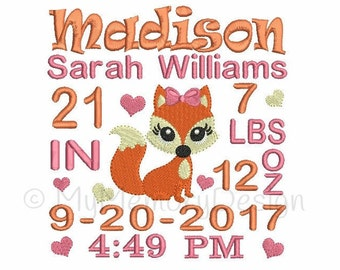 Birth announcement embroidery design - Fox embroidery, Baby girl embroidery, machine embroidery design - INSTANT DOWNLOAD 3 sizes