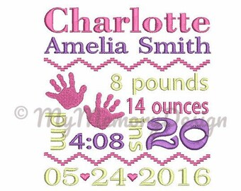 Baby hand Birth Announcement Embroidery Design - Baby embroidery - - EMAIL DELIVERY 0-48 hour - NOT instant downlaod