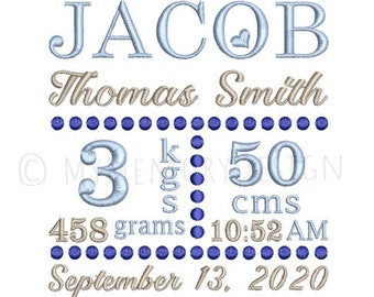 Baby Birth Announcement Template Embroidery Design, Subway Art, Metric Baby Stats Embroidery Template, Kgs, Grams, Cms, Baby Boy Embroidery