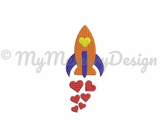 Spaceship embroidery design - Mini embroidery fill stitch design - Machine embroidery digital design - Instant download -  5 size - 4x4