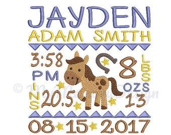 Boy Horse Birth Announcement Embroidery Design - Baby Subway Art Machine Embroidery File - EMAIL DELIVERY 0-48 hour - NOT instant downlaod