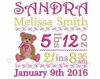 Bear Embroidery design - Custom Personalized Baby Birth Announcement Embroidery - Subway art- EMAIL DELIVERY 0-48 hour- NOT instant downlaod