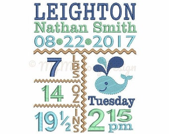 Whale birth announcement embroidery design - Baby birth stats machine embroidery baby design - INSTANT DOWNLOAD 4x4 5x7 6x10 sizes